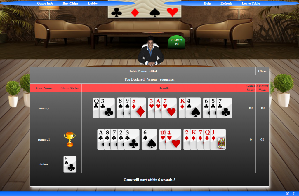 Rummy card game source code