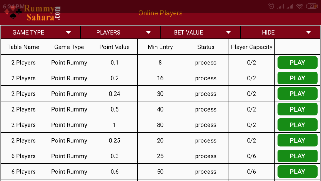 rummy game table list