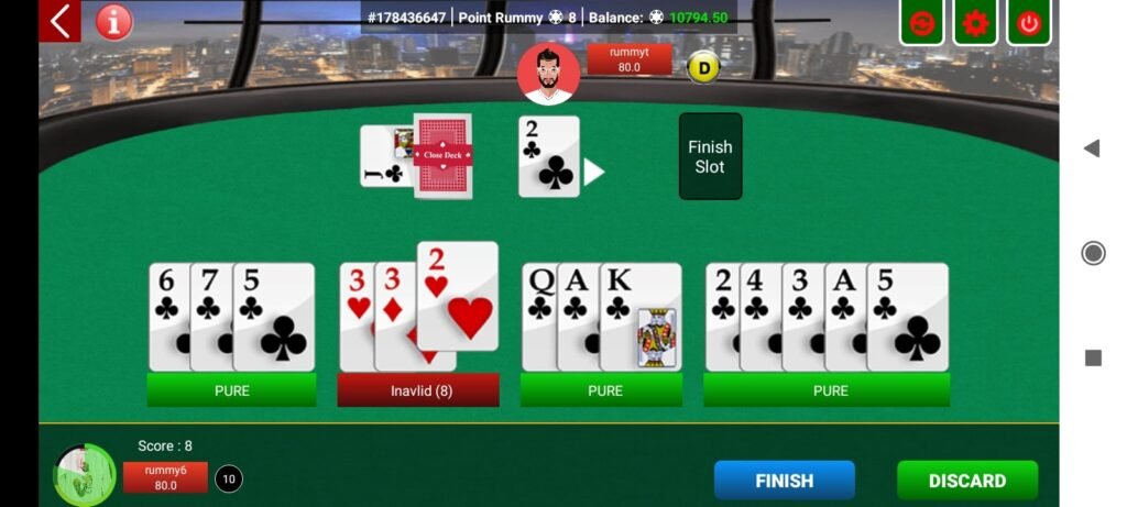 playing table rummy game